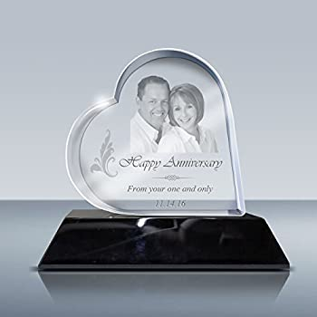 3D Crystal Heart - Custom Laser Etching Photo Crystal Engraved Picture in Glass Gift GACB0017 Gift Set with LED Lighted Base Made by Goodcount