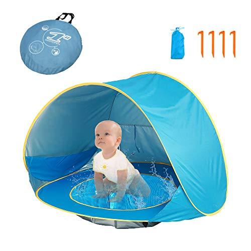 HUSAN tragbares Baby-Strandzelt, leichtes Pop-Up-Zelt, Kiddiezelt-Pool, UPF 50+ Sun Shade Shelter, 0-3 Jahre, für 1-2 Kinder