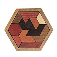 sky-open 六角形 木製 パズル 木のおもちゃ 赤ちゃん 幼児のおもちゃ 積み木 楽しく 脳トレ つまんで 指先 刺激 リハビリ シニア 玩具 高齢者 頭の体操 介護 グッズ ケア用品 知育玩具 幼児 子供 教育 教材(H01)