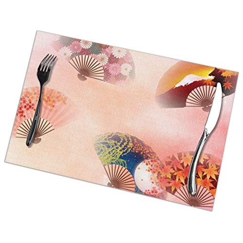 Tcerlcir Placemats Set of 6 Japanese Style Folding Fan Heat Resistant Washable Non-slip Place Mats Table Mats for Kitchen Dining Table 18'X12'