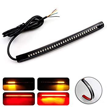 LivTee Universal 8  Flexible LED Light Strip with Tail Brake Stop Turn Signal Lights All-in-one for Motorcycle Scooter Quad Cruiser Off Road Red/Amber