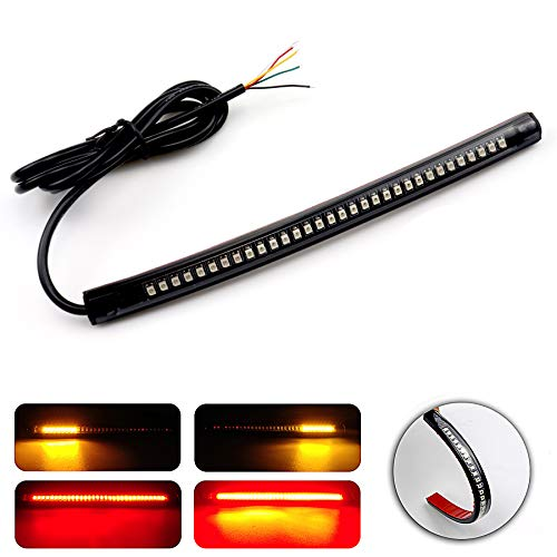 "LivTee Universal 8"" Flexible LED Light Strip with Tail Brake Stop Turn Signal Lights All-in-one for Motorcycle Scooter Quad Cruiser Harley Kawasaki Yamaha Suzuki Off Road, Red/Amber"