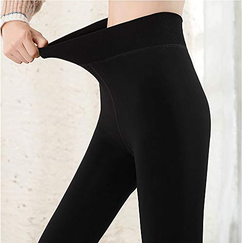 Foron Leggins Termicos Mujer, Leggins Mujer Invierno Terciopelo Elástico, Mallas Termicas Mujer Pantalon Termico, Leggings Negros (negro, L-XL)