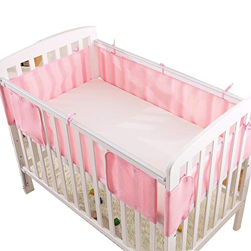 Crib Bumper 3D Breathable Summer Baby Baby Bedding Kit Universal Size Washable 115 * 65 pink