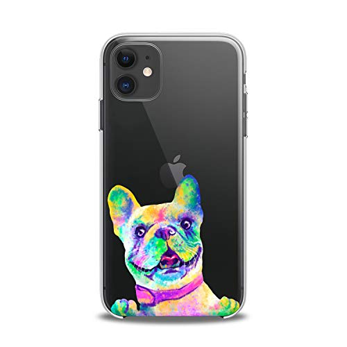 Anreda TPU Case Compatible with iPhone 12 Pro Max 12 5G Mini Xs X 8 Plus Xr 7 SE Soft Design Slim fit Paw Bulldog Clear Animals Cute Flexible Gift Girls Dog Colored Cover French Art Print Smooth Funny