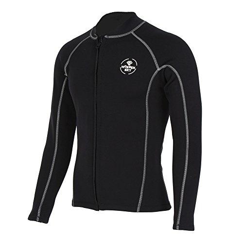 MORGEN SKY ウェットスーツ 2mm タッパー フロントジッパー 長袖ジャケット 水陸両用 サーフィン フィッシング シュノーケリング 水着 沢登 磯釣り 103(黒,M)
