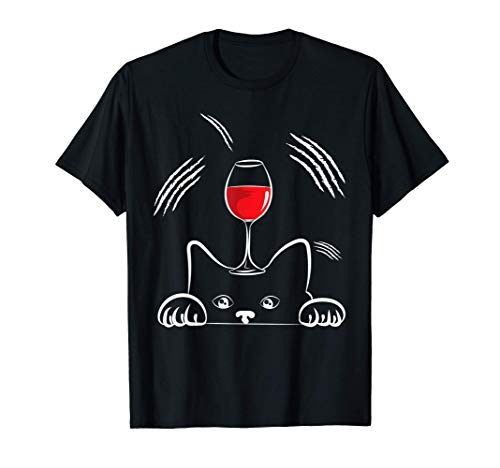 Motivo de gato Vino tinto Gatos Bebedor de vino Regalo Camiseta