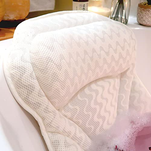Pure Bliss Luxury Bath Pillow - Spa Quality Soft Cushion Headrest - New Improved Design, Fits Any Bathtub Or Jacuzzi - Soothing Full Head, Neck And Back Support - Perfect For Soaking In Your Tub