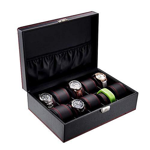 Slotted Locked Watch Box Storage Box Leather Watch Box Vitrine Storage Bag Jewelry Grote Storage Box met slot en sleutel Watch Box met glazen afdekplaat (Kleur: Zwart) Mooie en praktische horlogebox.