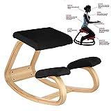 VEVOR Ergonomic Kneeling Chair Beech Wood Ergonomic Kneeling Office Chair Perfect for Body Shaping and Relieving Stress (Black)