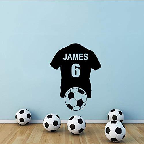 Camiseta de fútbol personalizada pegatina de arte de pared calcomanías de vinilo transferencia moderna camiseta de fútbol calcomanías personalizadas A1 74X57cm