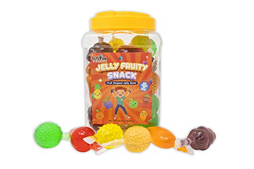 Fusion Select Jelly Fruity Snack Tik Tok Challenge Hit or Miss - Fruit-Shaped Jelly- Assorted Flavors, Strawberry, Orange, Apple, Pineapple, Grape, Mango (Jar)