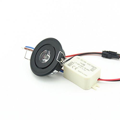 (Lot de 10) Mini 3W LED Rond Noir LED encastrable plafonnie