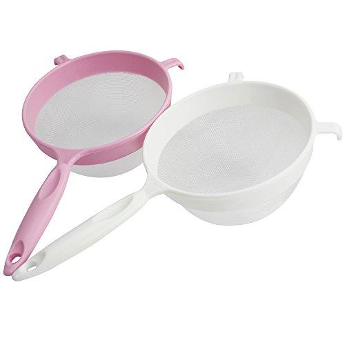 com-four® 2x Küchensieb aus Kunststoff - Puderzucker-Sieb zum Backen - Mehlsieb für die Küche - feinmaschig - Ø 14,5cm (02 Stück - Küchensieb)