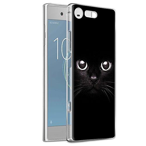 Coque Sony Xperia XZ1 Compact, Eouine Etui Silicone Transparente avec Motif Dessin 3D Imprimé Souple TPU [Premium] Bumper Case Cover Housse Coque pour Sony Xperia XZ1 Compact 2017 (Chat Noir)