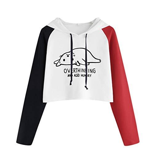 Andouy Damen Modisch Farb Patchwork Kapuzenpullover Übergroß Langarm Crop Jumper Pulli Oberteile(XL.Rot-7)