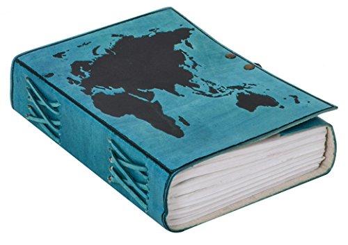 Notizbuch Notizheft Reisetagebuch Weltkarte Tagebuch DIN B6 Blau Leder