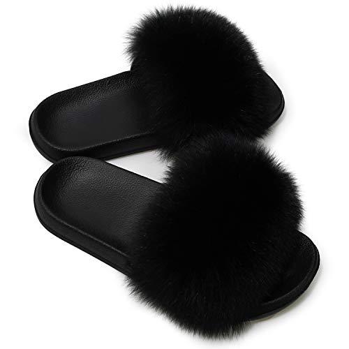 AONEGOLD Scarpe Donna Ciabatte Pelliccia Slippers Sandali con Punta Aperta Pantofole Pelose Diapositive Fluffy Infradito (Nero,38/39 EU)
