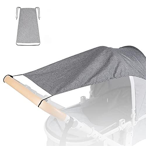 Silingsan Parasole per Carrozzina, Parasole Universale per Passeggino, Universale e di facile installazione, Parasole per Passeggini con Protezione UV 50+ e Pieghevole Funzione, Grigio