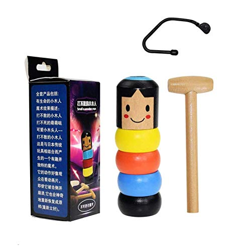 Sunshine smile Giocattolo Magico Uomo in Legno,Wooden Magic Toy,Immortal Toy,Giocattolo Magico di Legno infrangibile,Man Magic Toy,Daruma Toy,Immortal Daruma per Bambini (1)