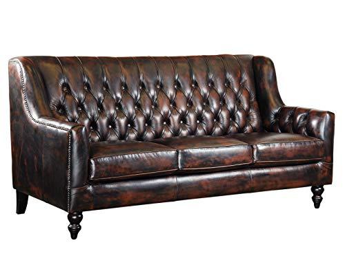 Woodkings® Chesterfield Stafford Sofa 3-Sitzer Echtleder Couch Bürosofa Polstermöbel 3er antik Unikat Herrenzimmer englisches Ledersofa Stilsofa Clubsofa (antik braun)
