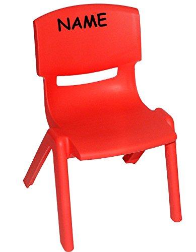 alles-meine.de GmbH Stuhl für Kinder - ROT - incl. Namen - für INNEN & AUßEN - stapelbar / kippsicher / bis 100 kg belastbar - Kindermöbel für Mädchen & Jungen - Plastik / Kunsts..