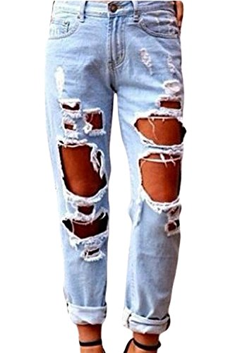 Zilcremo Jeans Strappati Ragazza Donne Sexy Vita Alta Pantaloni Ddi Denim Blu XS
