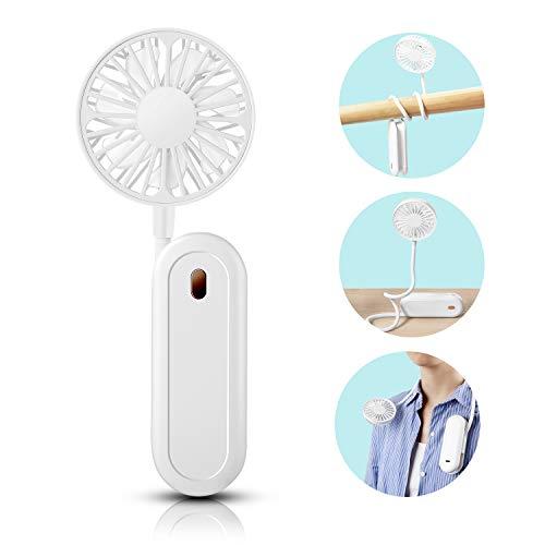 QZT Mini Lüfter, Mini USB Hals Lüfter - Klein Leicht Nackenbügel Ventilator mit Verstellbarer Draht und Sockel Leise Sport Lüfter für Nacken, Schreibtisch und Aufhänger, 3 Geschwindigkeiten, Weiß