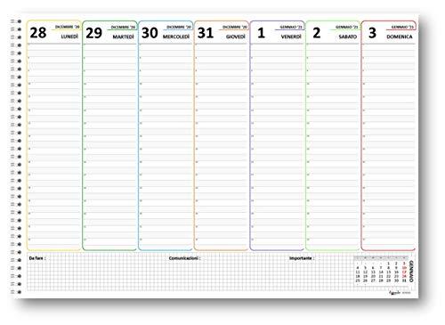 Planning 30x42 a colori 2021 SPIRALATO da tavolo A3 (55 fogli da 90 gr) agenda da tavolo senza data