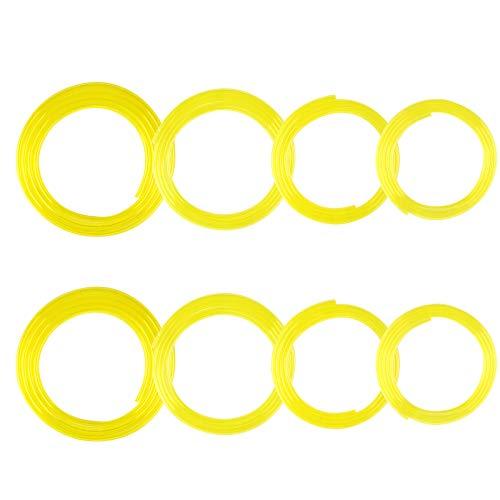 Huayue 8 Pezzi Tubo Carburante, con 4 Dimensioni 2 * 3,5mm; 2,5 * 5mm; 3 * 5mm; 3 * 6mm Tubo Flessibile per Carburante in Gomma Tubo in Linea da 1,5m Lunghezza per Benzina Diesel Gas Olio-Giallo