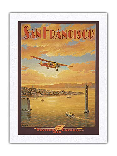San Francisco - Oakland Bay Bridge, California - Western Air Express - Fokker Trimotor - Poster Viaggio di Kerne Erickson - Stampa Artistica su Tessuto Dupioni 100% PURA SETA 61 x 81 cm