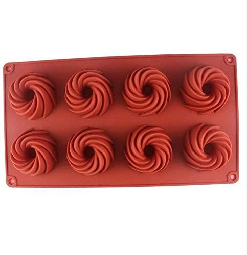 LLYX 2ST Spiral Savarin formte Silikon-Kuchen-Form Hohle Chiffon-Kuchen Schokoladen-Zuckermasse Backform Silikon Backform Pan Kürbis-Kuchen-Backblech Eisherstellung Fach Home Küche Backen-Werkzeuge
