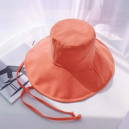 Bucket Hat Chapeau Solide Grandes Eaves Parasol Chapeau De Soleil Femmes en Plein Air Protection UV Protection Solaire Chapeau Respirant Joker Plage Ceinture Bonnet 56-58 Cm Cordedeavesorange
