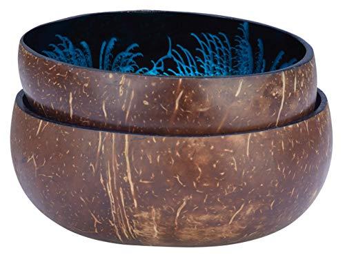 cocovibes 2er-Set Coconut Bowls, Kokosnuss Schalen Deko Schüsseln, handgemacht, lackiert Splash blau