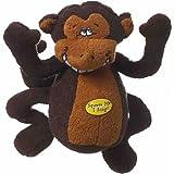 Multipet Deedle Dude 8-Inch Singing Monkey Plush Dog Toy, Brown