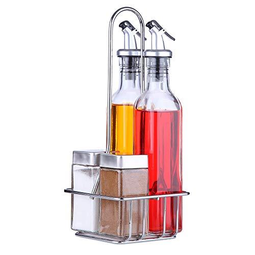 Juvo Oil - Set per Olio, aceto, Sale e Pepe, 5 Pezzi, Due da 266 ml, Due da 118 ml e Un Supporto