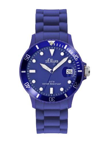 s.Oliver Unisex-Armbanduhr Medium Size Silikon blau Analog Quarz SO-1989-PQ