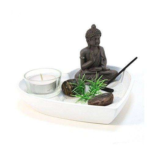 AC-Déco Jardin Zen Coeur - Blanc - Objet de décoration avec Accessoires