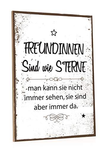 GRAVURZEILE Holzschild mit Spruch - Freundinnen sind wie Sterne - Moderne Kunstdrucke auf Holz - Wand Dekoration im Vintage-Look Kunstdruck als Geschenkidee für Beste Freundin