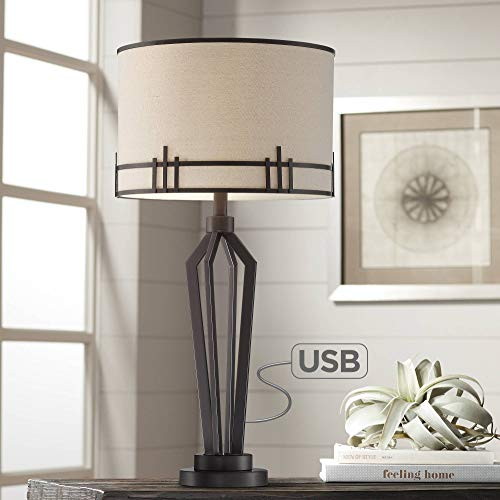 Picket Modern Industrial Table Lamp with USB Charging Port Oil Rubbed Bronze Iron Oatmeal Fabric Drum Shade for Living Room Bedroom Bedside Nightstand Office Family - Franklin Iron Works