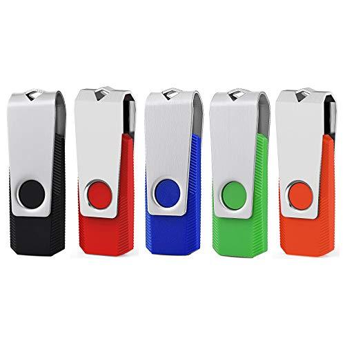 KEXIN 5 Pezzi 32GB Chiavette USB 2.0 da Multicolorato Girevole PenDrive (nero blu rosso arancione verde) (32gb*5pcs)