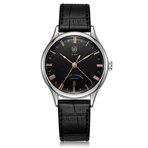 DuFa Unisex Analog Quarz Uhr mit Leder Armband DF-9006-01