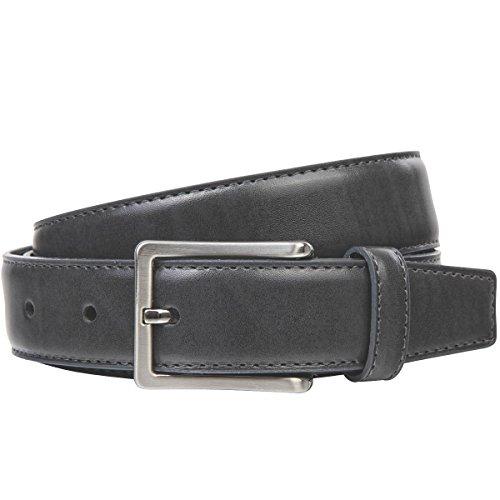 Lindenmann Mens leather belt/Mens belt, leather belt XL curved, grey, Größe/Size:95, Farbe/Color:grigio