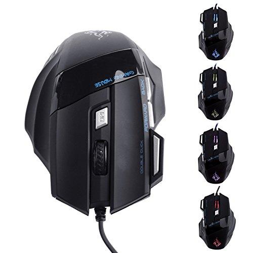 Optische Gaming-Maus, 5500 dpi, 7 Tasten, LED, USB, kabelgeb&en, für Pro Gamer