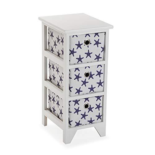 Versa Starfish Cajonera con cestas para baño, Madera, Blanco, 58 x 29 x 23 cm
