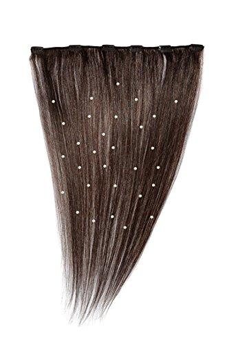 American Dream - A19/QFC12/18/2 - 100 % Cheveux Naturels - Pièce Unique Extensions Cristallisées à Clipper - Couleur 2 - Brun Foncé - 46 cm
