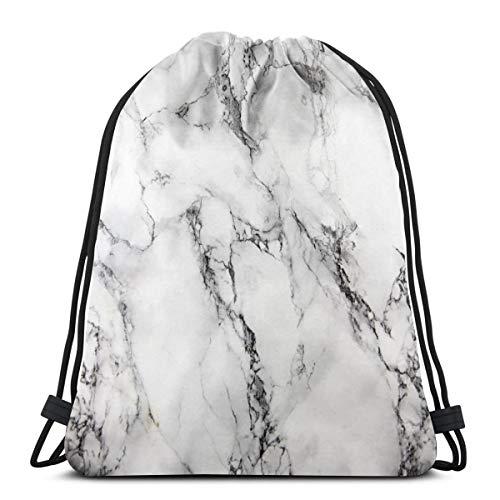 Elsaone White Marble Waterproof Drawstring Bag Sporttasche Sportrucksack für Männer Frauen Mädchen 36 x 43 cm / 14,2 x 16,9 Zoll