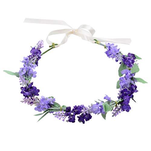 Lurrose Haarband Blumenkrone Lavendel Blumenkranz Stirnband Girlande Kopfschmuck für Braut Mädchen Frauen Hochzeit Geburtstag Party (lila)