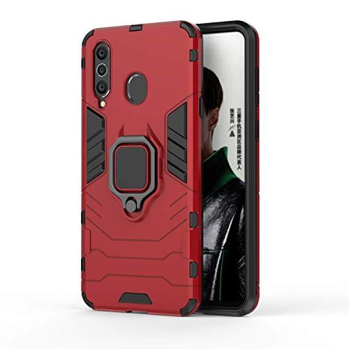 für Samsung Galaxy A8S Hülle, Militärische Rüstung Dual Layer Hybrid Bumper Stoßfest Rückseitiger Schutzhülle Handyhülle und Magnetic Rotation Ringhalter (Rot)