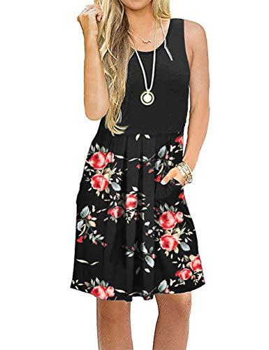 potente para casa AUSELILY Un vestido casual sin mangas con pliegues y pliegues sueltos con bolsillos máximos …